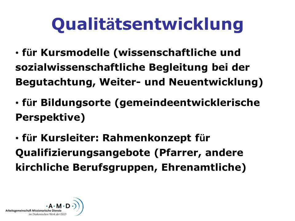 Qualit ä tsentwicklung f ü r Kursmodelle (wissenschaftliche und sozialwissenschaftliche Begleitung bei der Begutachtung, Weiter- und Neuentwicklung) f