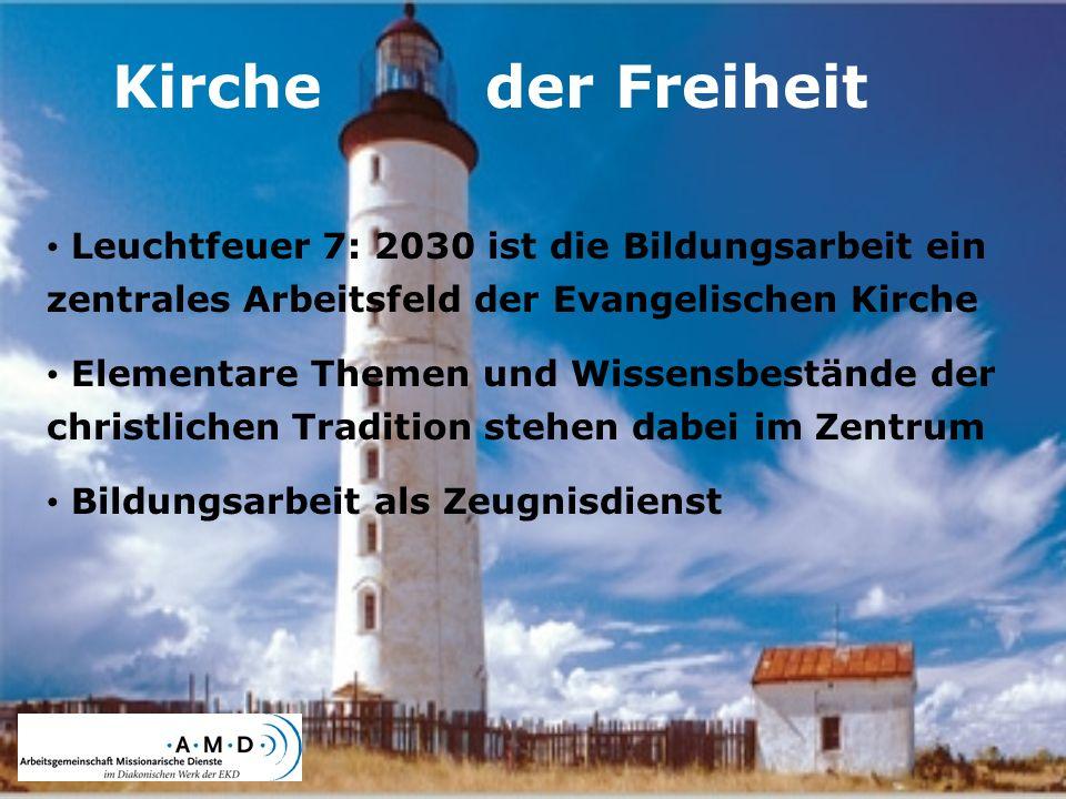 Kirche der Freiheit Leuchtfeuer 7: 2030 ist die Bildungsarbeit ein zentrales Arbeitsfeld der Evangelischen Kirche Elementare Themen und Wissensbeständ