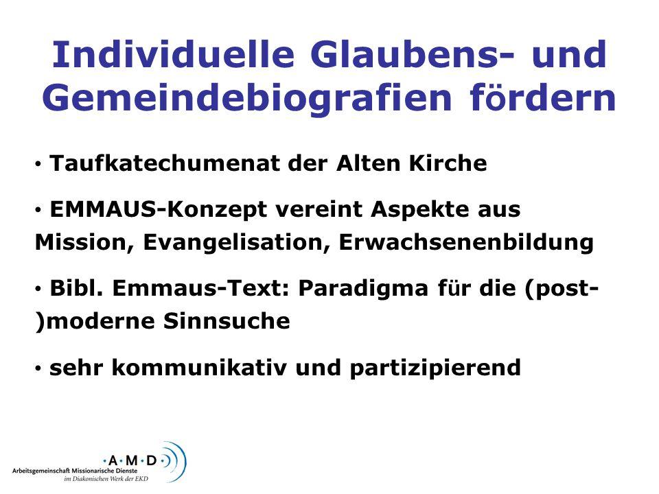 Individuelle Glaubens- und Gemeindebiografien f ö rdern Taufkatechumenat der Alten Kirche EMMAUS-Konzept vereint Aspekte aus Mission, Evangelisation,