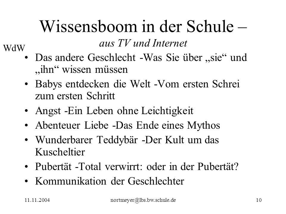 11.11.2004nortmeyer@lbs.bw.schule.de10 Wissensboom in der Schule – aus TV und Internet Das andere Geschlecht -Was Sie über sie und ihn wissen müssen B