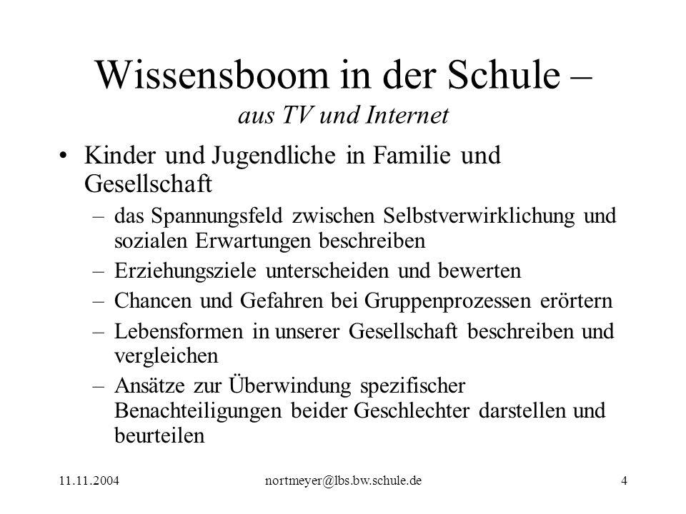 11.11.2004nortmeyer@lbs.bw.schule.de15 Wissensboom in der Schule – aus TV und Internet Internet-Angebot –Informationsgehalt: sehr unterschiedlich –Präsentation und Navigation: attraktiv und nutzerfreundlich (z.T.
