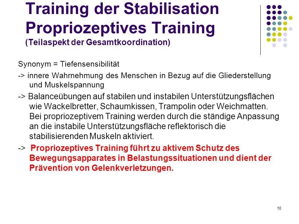 10 Training der Stabilisation Propriozeptives Training (Teilaspekt der Gesamtkoordination) Synonym = Tiefensensibilität -> innere Wahrnehmung des Mens