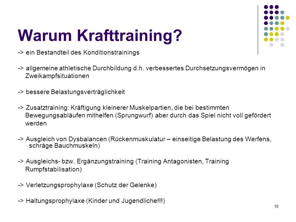 18 Warum Krafttraining? -> ein Bestandteil des Konditionstrainings -> allgemeine athletische Durchbildung d.h. verbessertes Durchsetzungsvermögen in Z