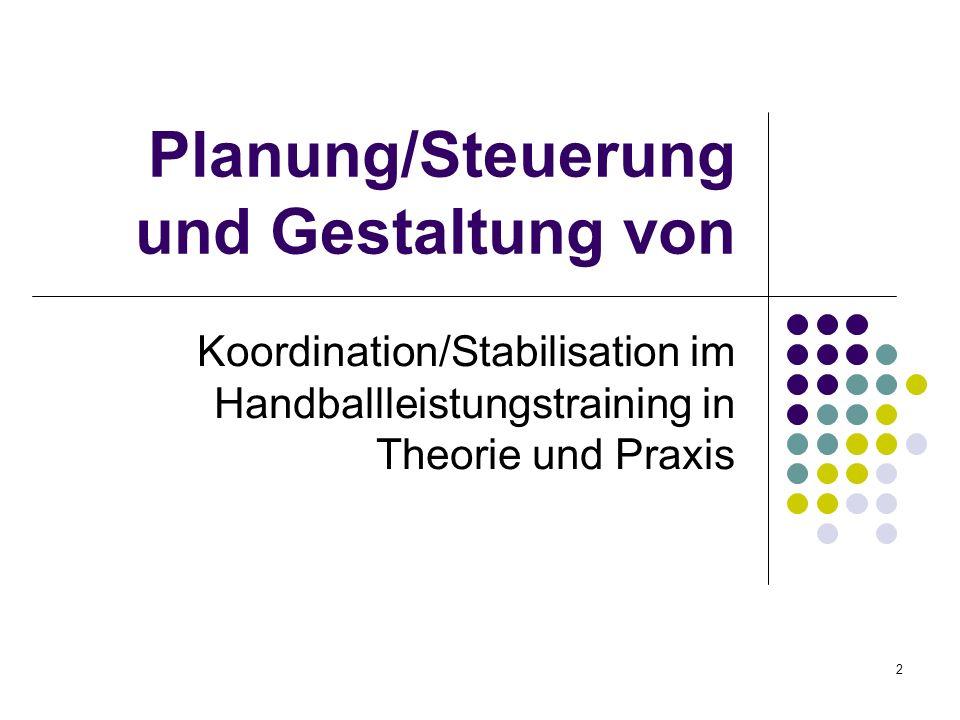 2 Planung/Steuerung und Gestaltung von Koordination/Stabilisation im Handballleistungstraining in Theorie und Praxis