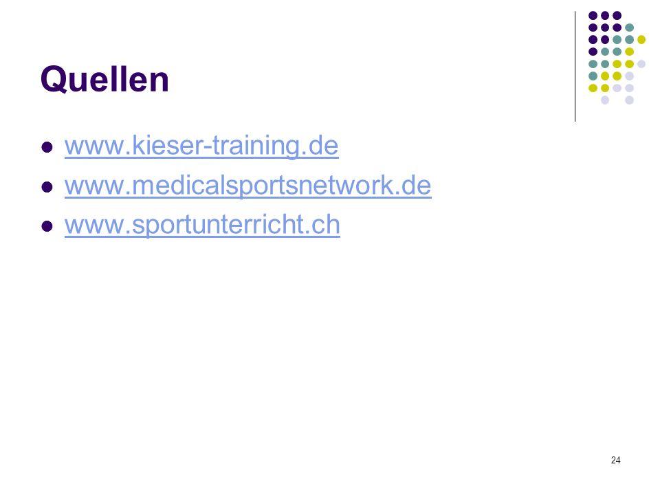Quellen www.kieser-training.de www.medicalsportsnetwork.de www.sportunterricht.ch 24