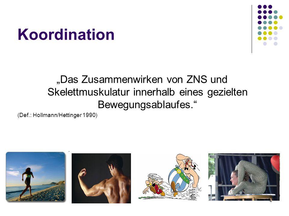 4 Koordination Das Zusammenwirken von ZNS und Skelettmuskulatur innerhalb eines gezielten Bewegungsablaufes. (Def.: Hollmann/Hettinger 1990)