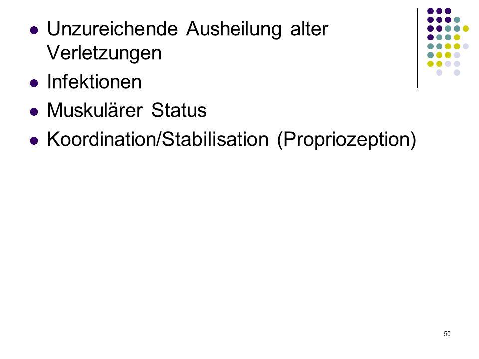 50 Unzureichende Ausheilung alter Verletzungen Infektionen Muskulärer Status Koordination/Stabilisation (Propriozeption)