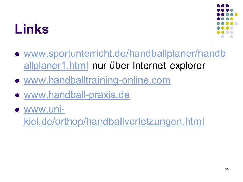51 Links www.sportunterricht.de/handballplaner/handb allplaner1.html nur über Internet explorer www.sportunterricht.de/handballplaner/handb allplaner1