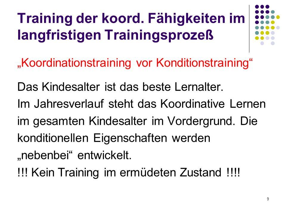 9 Training der koord. Fähigkeiten im langfristigen Trainingsprozeß Koordinationstraining vor Konditionstraining Das Kindesalter ist das beste Lernalte