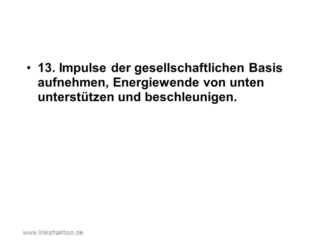 13. Impulse der gesellschaftlichen Basis aufnehmen, Energiewende von unten unterstützen und beschleunigen. www.linksfraktion.de