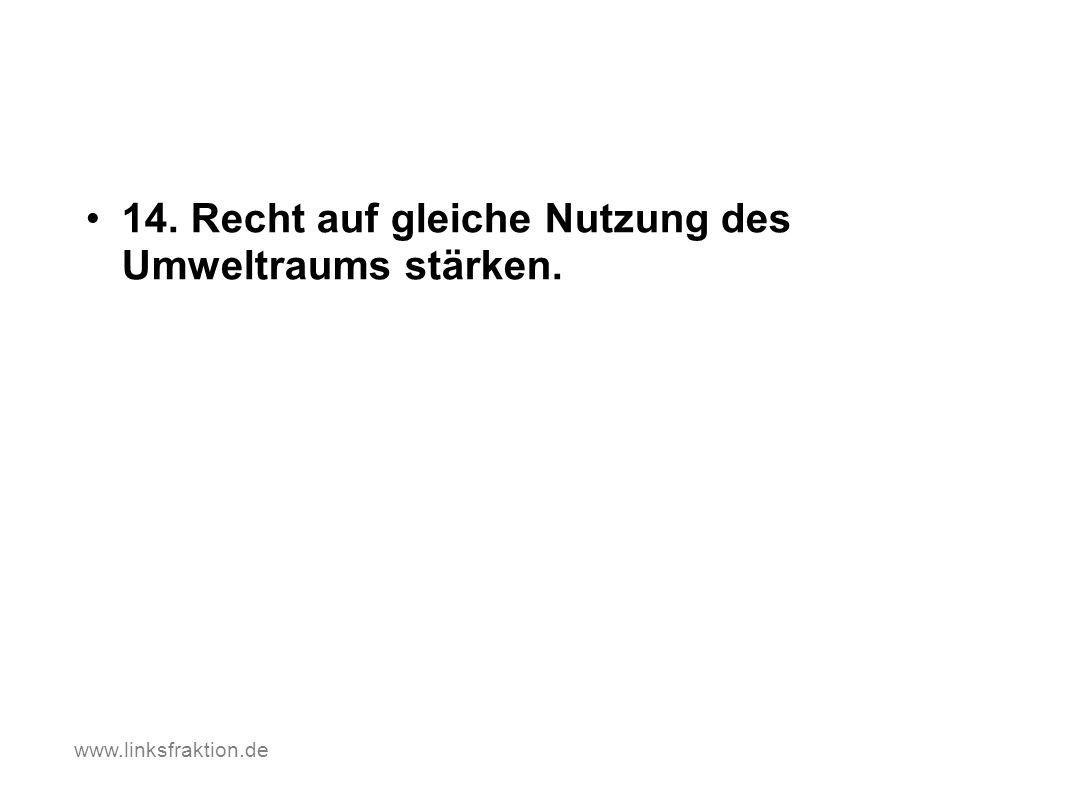 14. Recht auf gleiche Nutzung des Umweltraums stärken. www.linksfraktion.de