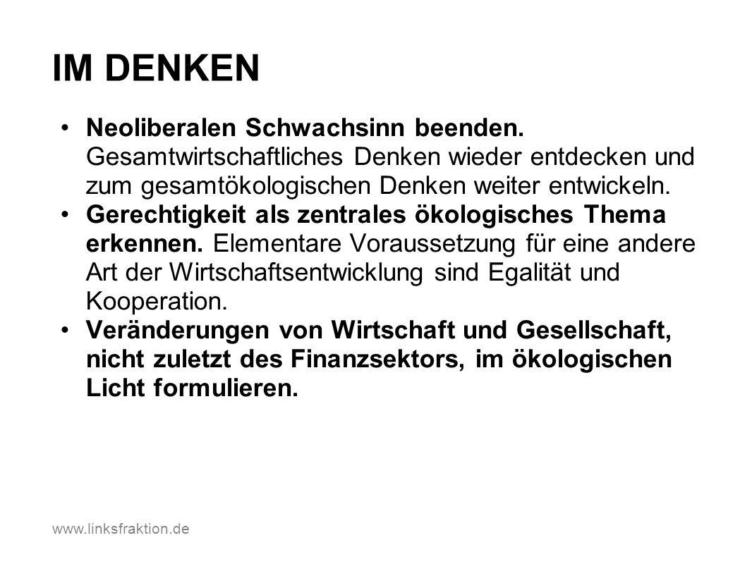www.linksfraktion.de IM DENKEN Neoliberalen Schwachsinn beenden. Gesamtwirtschaftliches Denken wieder entdecken und zum gesamtökologischen Denken weit