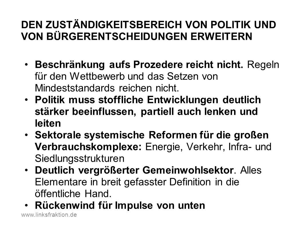 www.linksfraktion.de DEN ZUSTÄNDIGKEITSBEREICH VON POLITIK UND VON BÜRGERENTSCHEIDUNGEN ERWEITERN Beschränkung aufs Prozedere reicht nicht. Regeln für