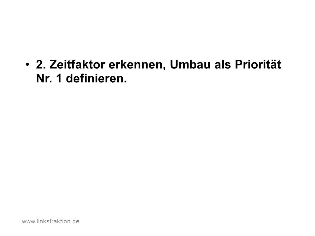 2. Zeitfaktor erkennen, Umbau als Priorität Nr. 1 definieren. www.linksfraktion.de