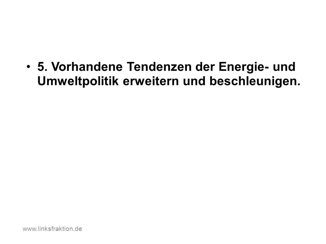5. Vorhandene Tendenzen der Energie- und Umweltpolitik erweitern und beschleunigen. www.linksfraktion.de