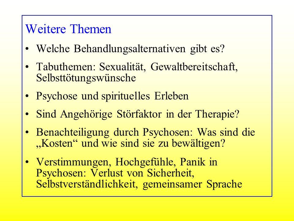 Weitere Themen Welche Behandlungsalternativen gibt es? Tabuthemen: Sexualität, Gewaltbereitschaft, Selbsttötungswünsche Psychose und spirituelles Erle