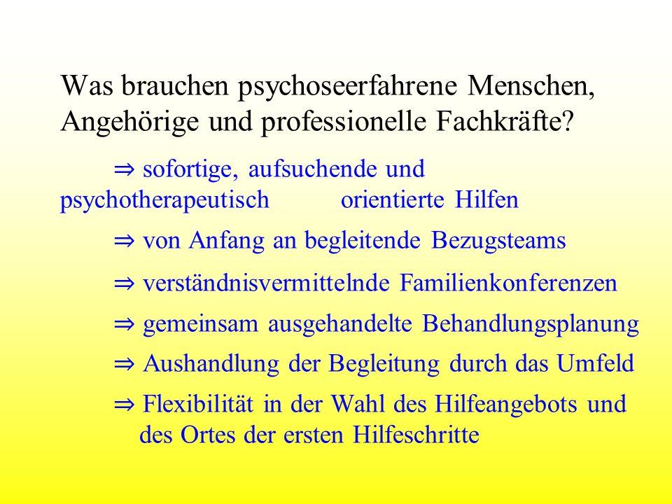 Was brauchen psychoseerfahrene Menschen, Angehörige und professionelle Fachkräfte? sofortige, aufsuchende und psychotherapeutisch orientierte Hilfen v