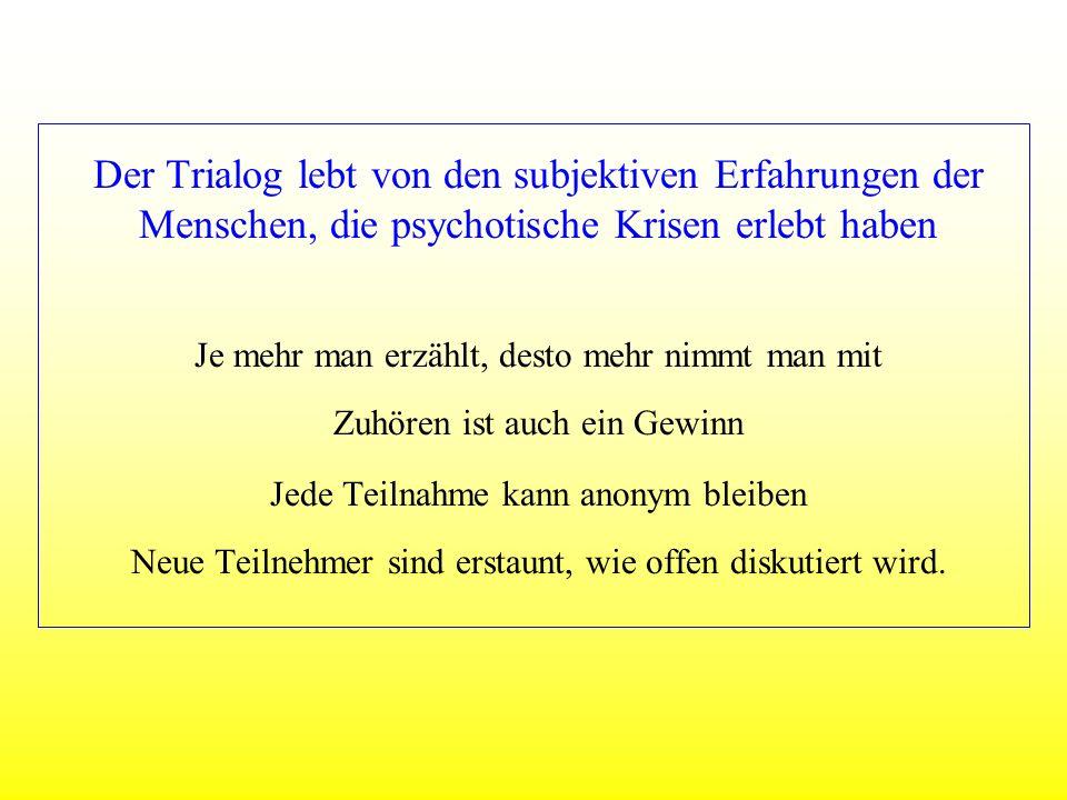Auf den Spuren psychotischer Erfahrung Psychose ist Kleinkrieg (Angehörige) Psychose ist die Hölle (Psychoseerfahrene) Psychose ist wie der Garten Eden (Psychoseerfahrene) Psychose ist Verlust der Realitätsprüfung (Professioneller) Trialog: Es ist normal verschieden zu sein.