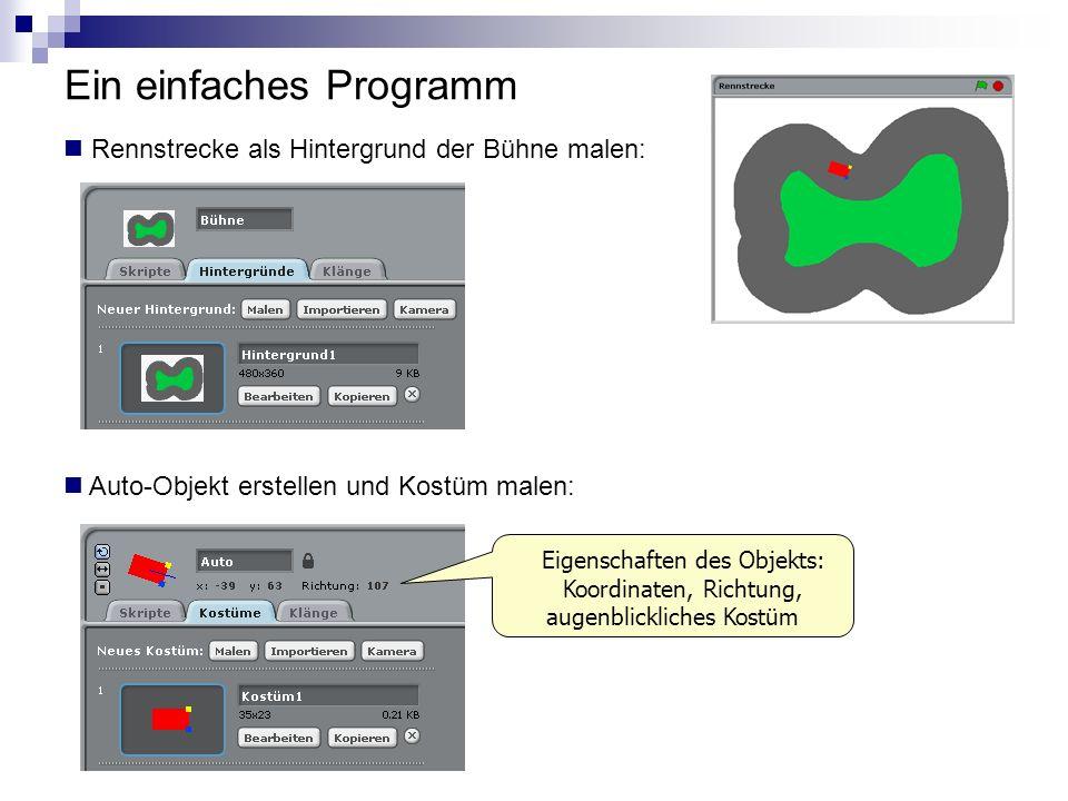 Ein einfaches Programm Rennstrecke als Hintergrund der Bühne malen: Auto-Objekt erstellen und Kostüm malen: Eigenschaften des Objekts: Koordinaten, Ri