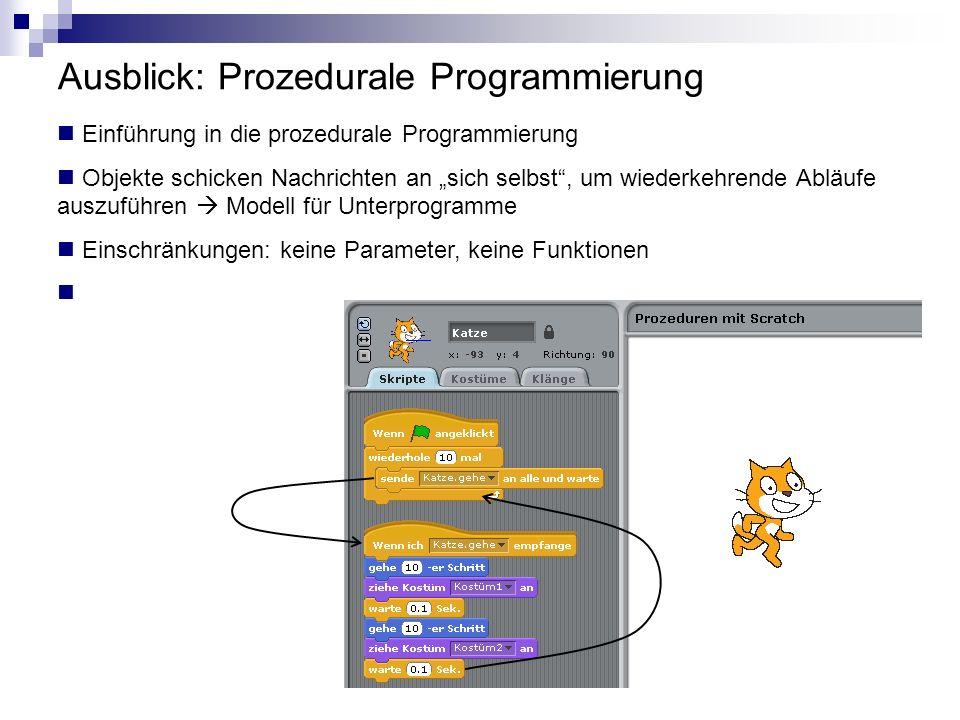 Ausblick: Prozedurale Programmierung Einführung in die prozedurale Programmierung Objekte schicken Nachrichten an sich selbst, um wiederkehrende Abläu