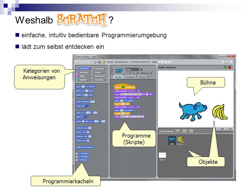 Weshalb Scratch ? einfache, intuitiv bedienbare Programmierumgebung lädt zum selbst entdecken ein Bühne Objekte Programme (Skripte) Kategorien von Anw