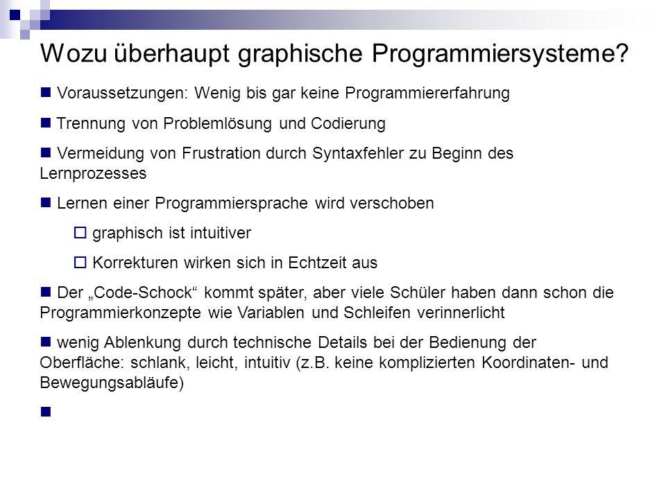 Wozu überhaupt graphische Programmiersysteme? Voraussetzungen: Wenig bis gar keine Programmiererfahrung Trennung von Problemlösung und Codierung Verme