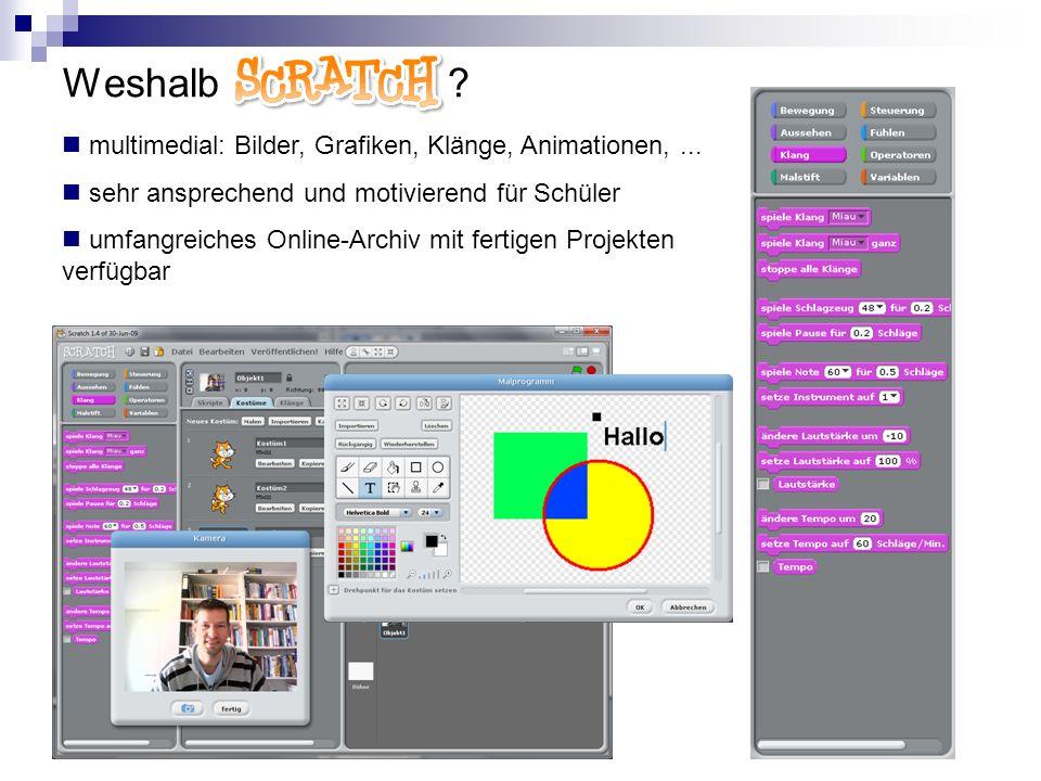 Weshalb Scratch ? multimedial: Bilder, Grafiken, Klänge, Animationen,... sehr ansprechend und motivierend für Schüler umfangreiches Online-Archiv mit
