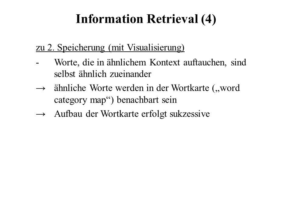 Information Retrieval (4) zu 2. Speicherung (mit Visualisierung) - Worte, die in ähnlichem Kontext auftauchen, sind selbst ähnlich zueinander ähnliche