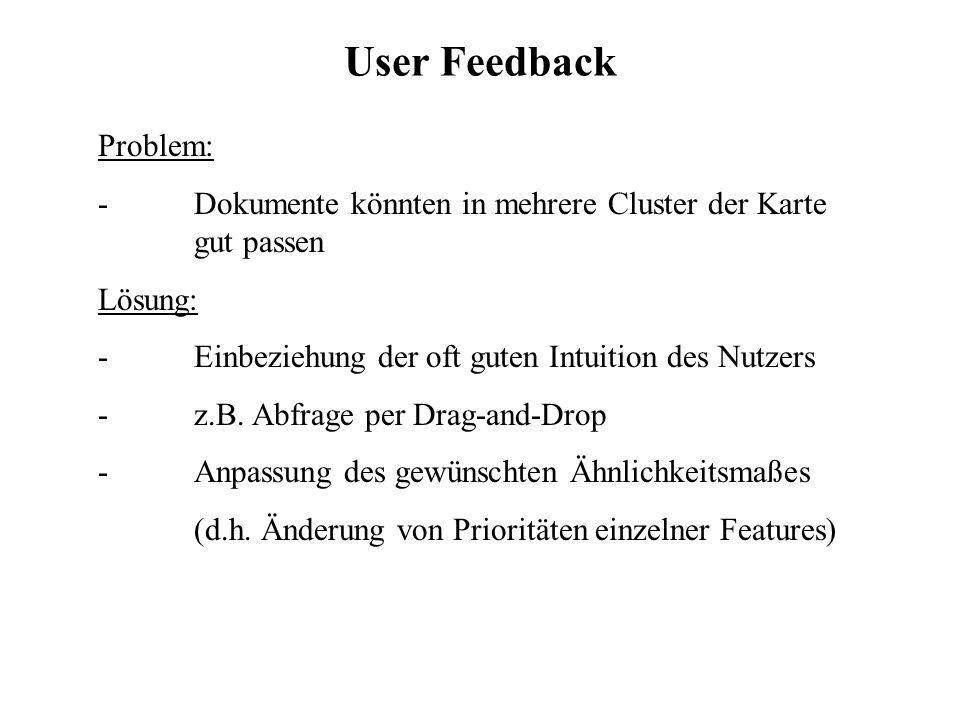 User Feedback Problem: -Dokumente könnten in mehrere Cluster der Karte gut passen Lösung: - Einbeziehung der oft guten Intuition des Nutzers -z.B. Abf