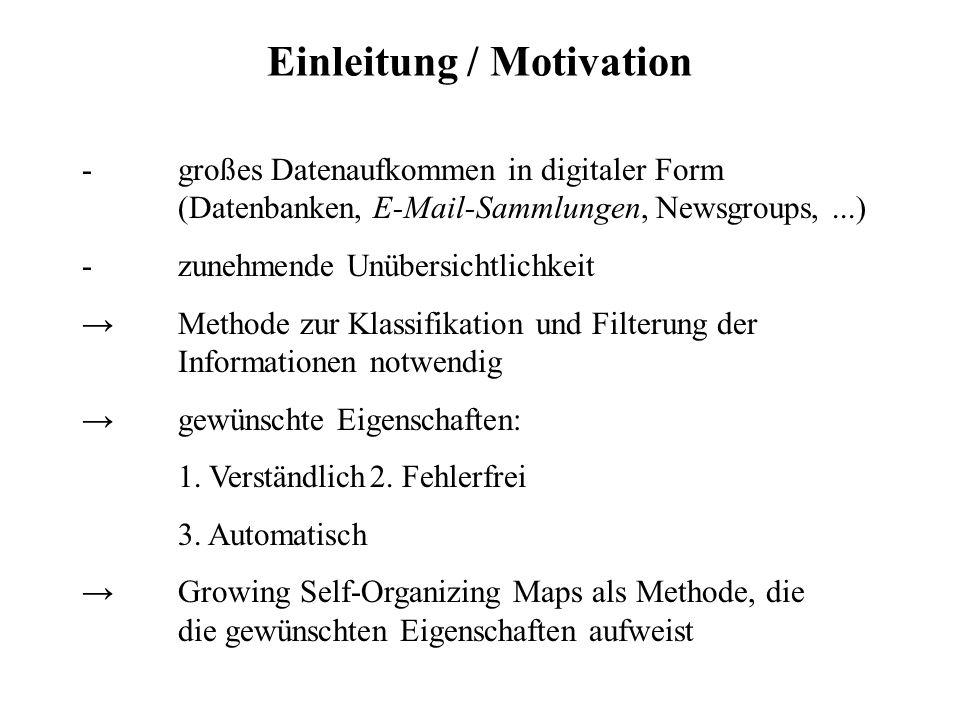 Einleitung / Motivation -großes Datenaufkommen in digitaler Form (Datenbanken, E-Mail-Sammlungen, Newsgroups,...) -zunehmende Unübersichtlichkeit Meth