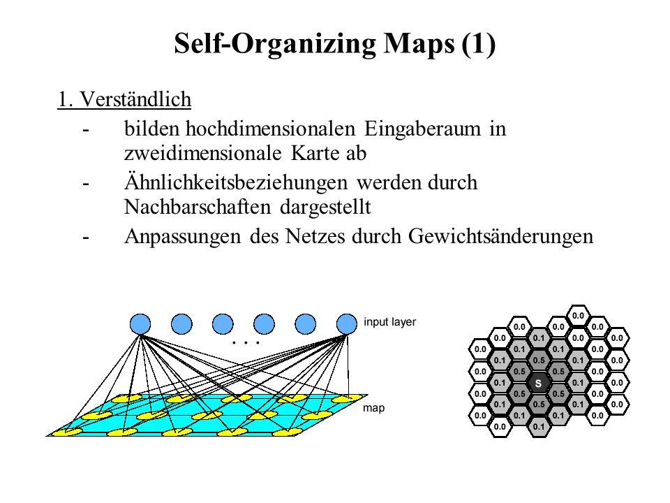Self-Organizing Maps (1) 1. Verständlich -bilden hochdimensionalen Eingaberaum in zweidimensionale Karte ab -Ähnlichkeitsbeziehungen werden durch Nach