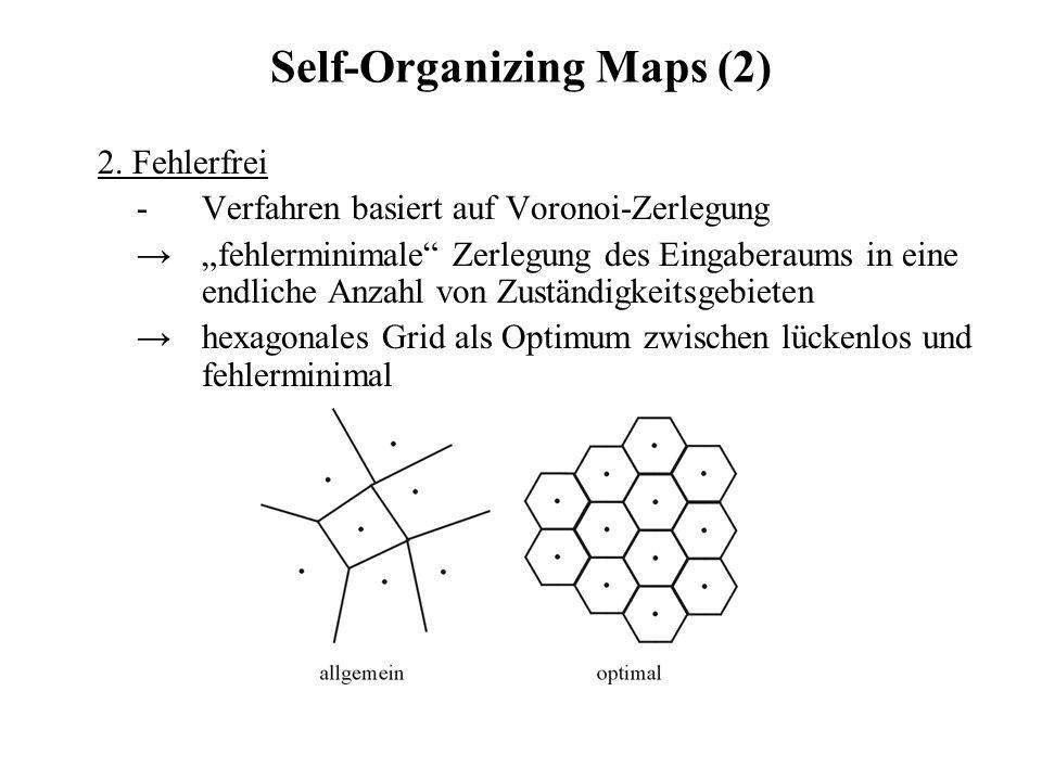 Self-Organizing Maps (2) 2. Fehlerfrei - Verfahren basiert auf Voronoi-Zerlegung fehlerminimale Zerlegung des Eingaberaums in eine endliche Anzahl von