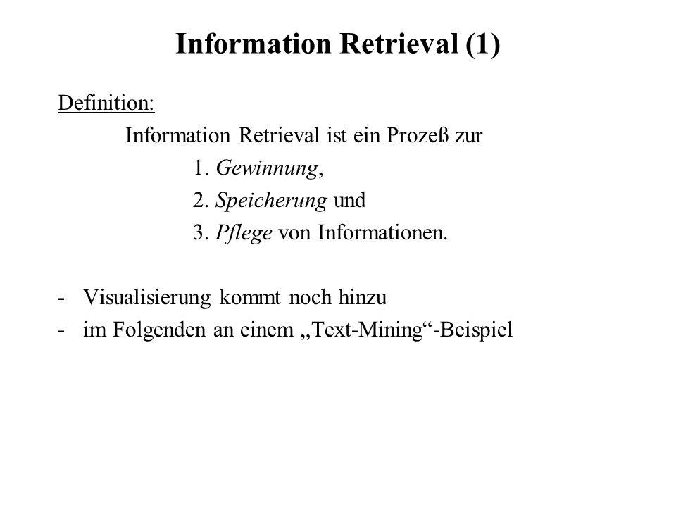 Information Retrieval (1) Definition: Information Retrieval ist ein Prozeß zur 1. Gewinnung, 2. Speicherung und 3. Pflege von Informationen. -Visualis
