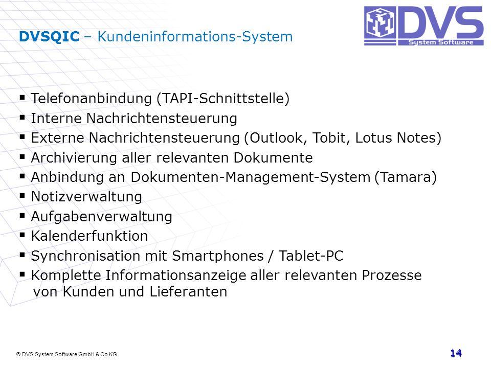 © DVS System Software GmbH & Co KG 14 DVSQIC – Kundeninformations-System Telefonanbindung (TAPI-Schnittstelle) Interne Nachrichtensteuerung Externe Na
