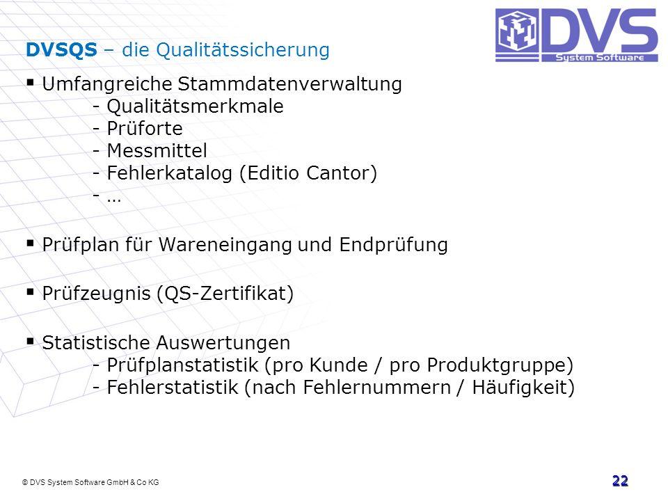 © DVS System Software GmbH & Co KG 22 DVSQS – die Qualitätssicherung Umfangreiche Stammdatenverwaltung - Qualitätsmerkmale - Prüforte - Messmittel - F