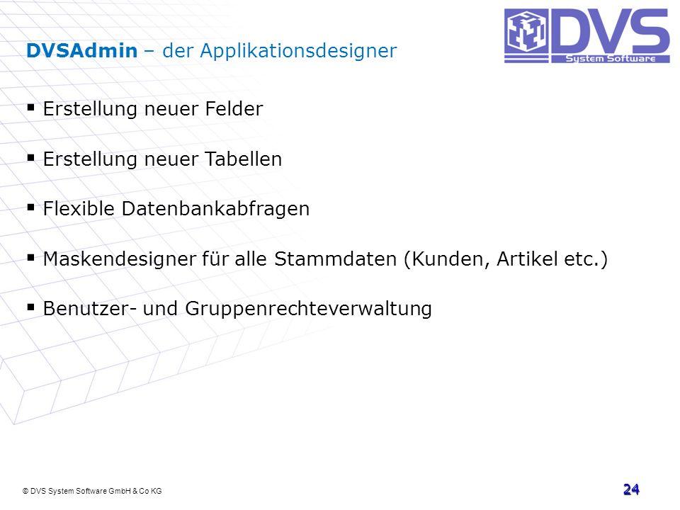 © DVS System Software GmbH & Co KG 24 DVSAdmin – der Applikationsdesigner Erstellung neuer Felder Erstellung neuer Tabellen Flexible Datenbankabfragen