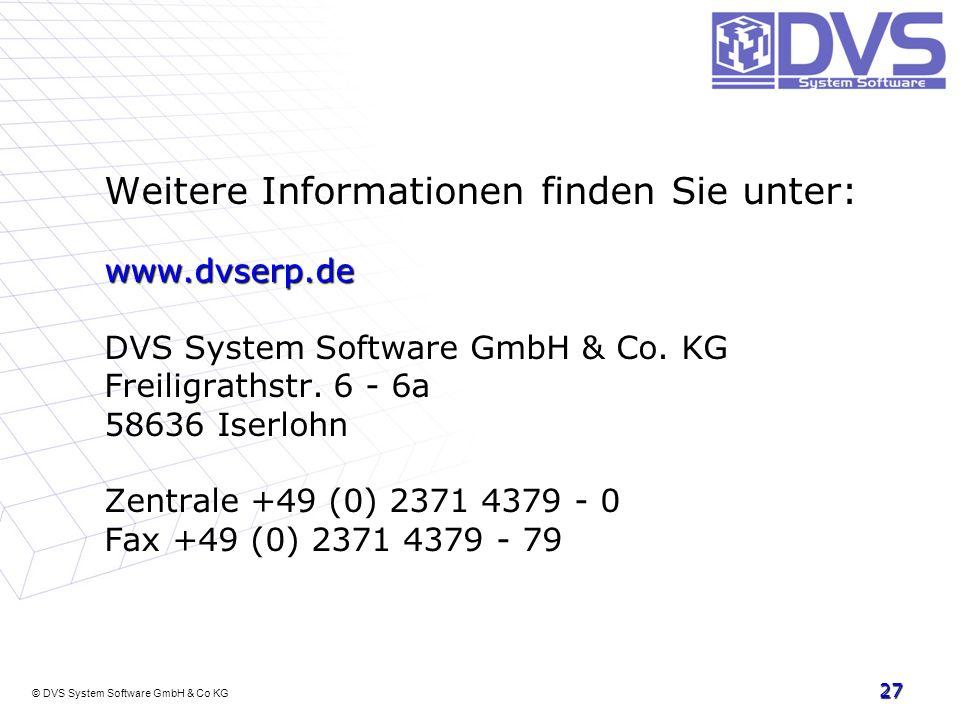 © DVS System Software GmbH & Co KG Weitere Informationen finden Sie unter: www.dvserp.de DVS System Software GmbH & Co. KG Freiligrathstr. 6 - 6a 5863