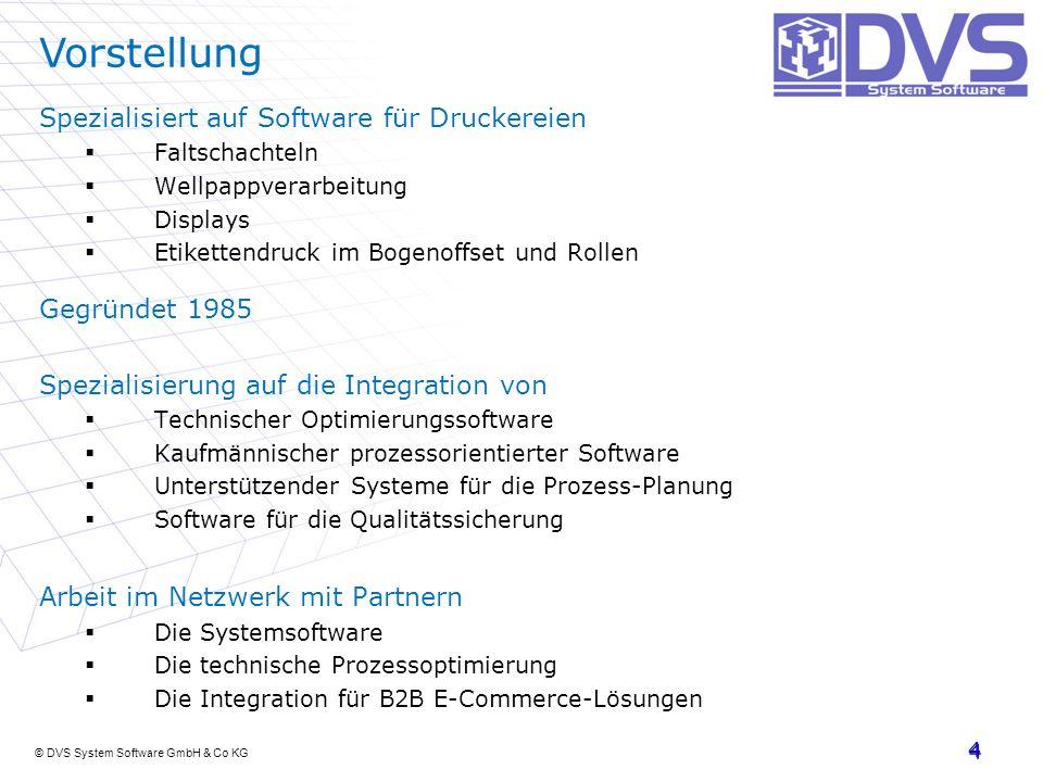 © DVS System Software GmbH & Co KG Spezialisiert auf Software für Druckereien Faltschachteln Wellpappverarbeitung Displays Etikettendruck im Bogenoffs