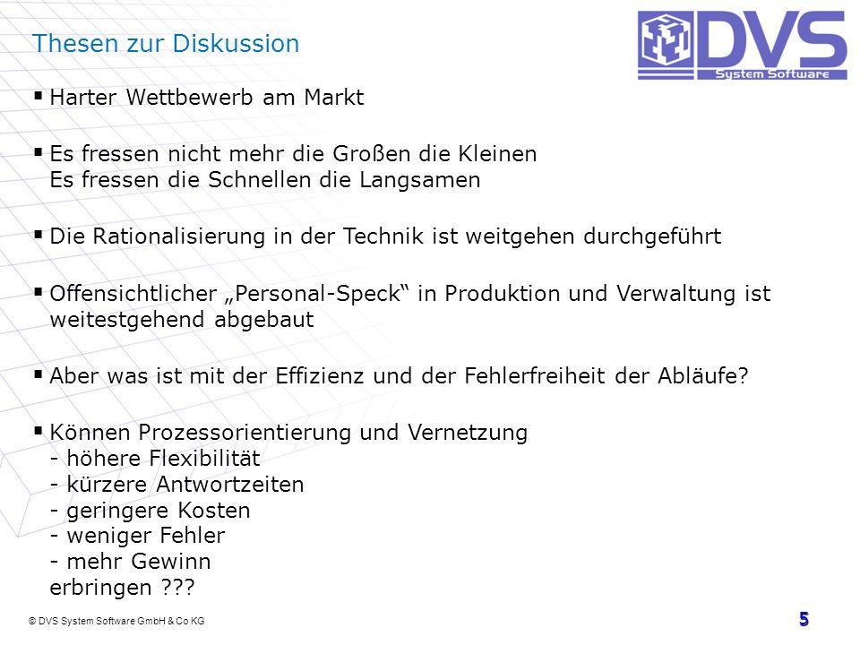 © DVS System Software GmbH & Co KG 5 Thesen zur Diskussion Harter Wettbewerb am Markt Es fressen nicht mehr die Großen die Kleinen Es fressen die Schn