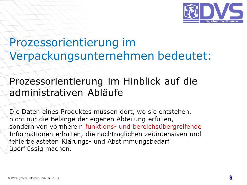 © DVS System Software GmbH & Co KG 8 Prozessorientierung im Verpackungsunternehmen bedeutet: Prozessorientierung im Hinblick auf die administrativen A