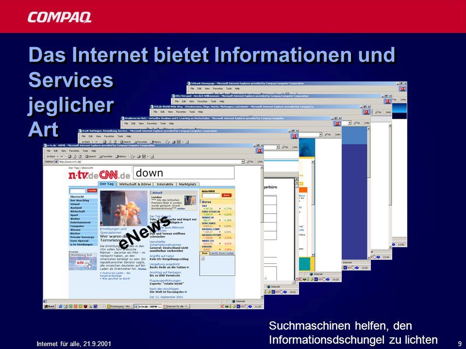 Internet für alle, 21.9.200110 Zugang zum Internet Der PC zu Hause ist immer noch Spitzenreiter Quelle: Jupiter MMXI