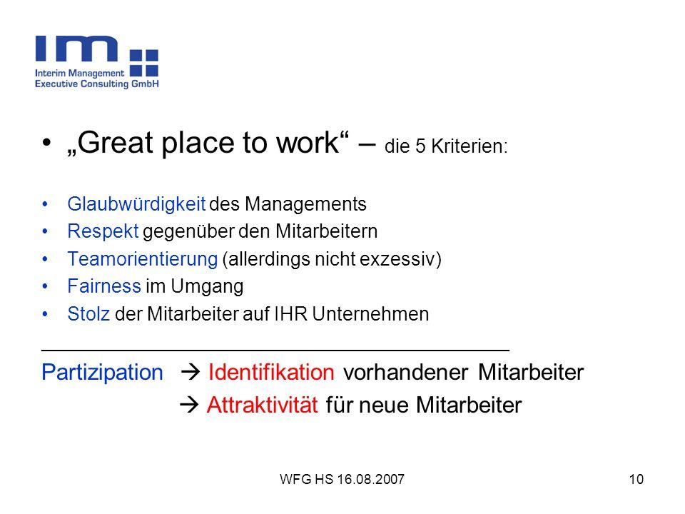 WFG HS 16.08.200710 Great place to work – die 5 Kriterien: Glaubwürdigkeit des Managements Respekt gegenüber den Mitarbeitern Teamorientierung (allerd