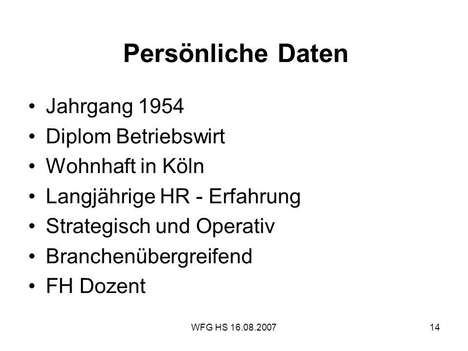 WFG HS 16.08.200714 Persönliche Daten Jahrgang 1954 Diplom Betriebswirt Wohnhaft in Köln Langjährige HR - Erfahrung Strategisch und Operativ Branchenü
