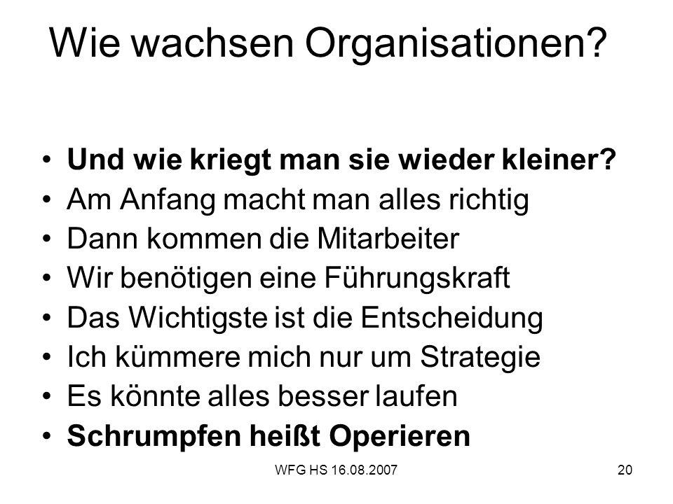 WFG HS 16.08.200720 Wie wachsen Organisationen? Und wie kriegt man sie wieder kleiner? Am Anfang macht man alles richtig Dann kommen die Mitarbeiter W