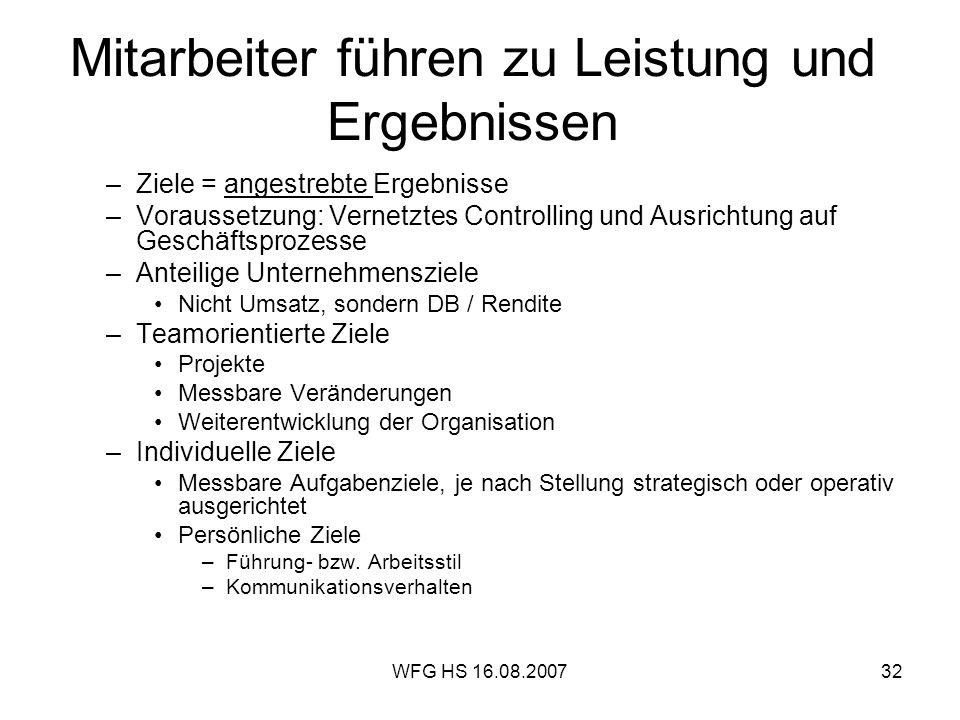 WFG HS 16.08.200732 Mitarbeiter führen zu Leistung und Ergebnissen –Ziele = angestrebte Ergebnisse –Voraussetzung: Vernetztes Controlling und Ausricht