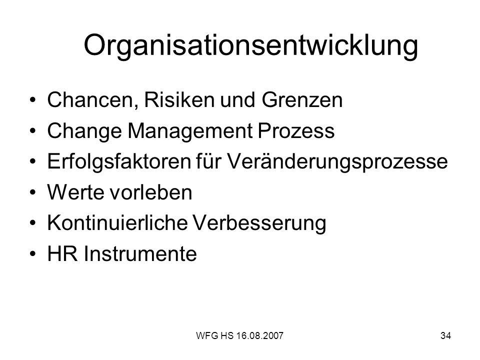 WFG HS 16.08.200734 Organisationsentwicklung Chancen, Risiken und Grenzen Change Management Prozess Erfolgsfaktoren für Veränderungsprozesse Werte vor