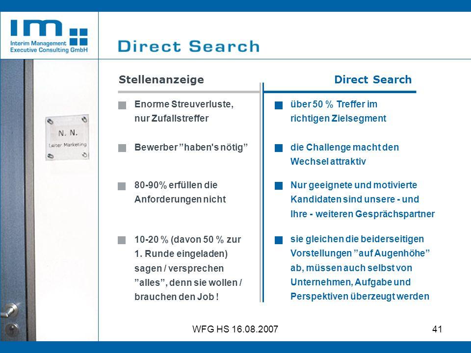 WFG HS 16.08.200741 Stellenanzeige Direct Search über 50 % Treffer im richtigen Zielsegment Nur geeignete und motivierte Kandidaten sind unsere - und