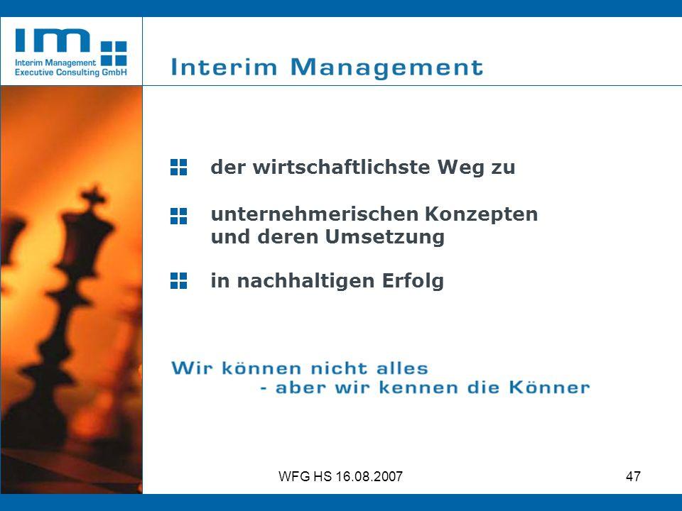 WFG HS 16.08.200747 in nachhaltigen Erfolg unternehmerischen Konzepten und deren Umsetzung der wirtschaftlichste Weg zu
