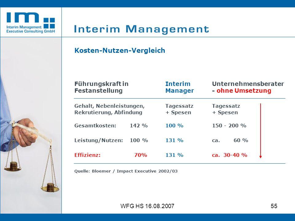 WFG HS 16.08.200755 Kosten-Nutzen-Vergleich Führungskraft in Festanstellung Interim Manager Unternehmensberater - ohne Umsetzung Gehalt, Nebenleistung