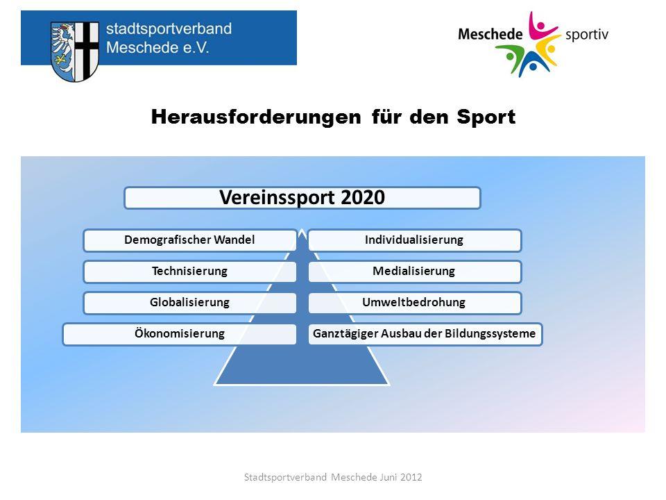 Demografischer Wandel in Deutschland Nachhaltige Herausforderungen für den Sport Stadtsportverband Meschede Juni 2012 Nutzung kommunalen Anlagen Kinder und Jugendlichen aus organisierten Vereinen kostenlos Nutzung von Sporthallen Hallennutzungsgebühren für Erwachsene